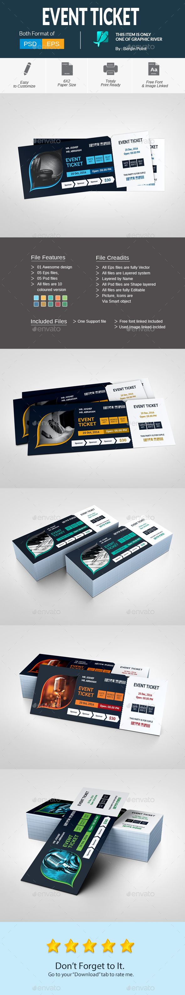 Event Ticket — Photoshop PSD #three color #conference • Download ➝ https://graphicriver.net/item/event-ticket/19015624?ref=pxcr