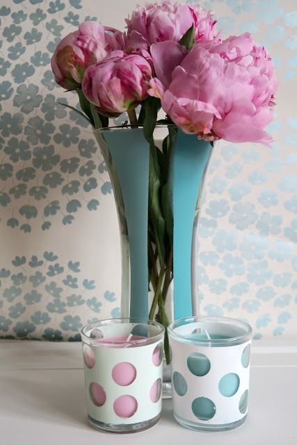 Painted Vase and Glass Scented Candles with Pinty Plus Chalk Paint Spray