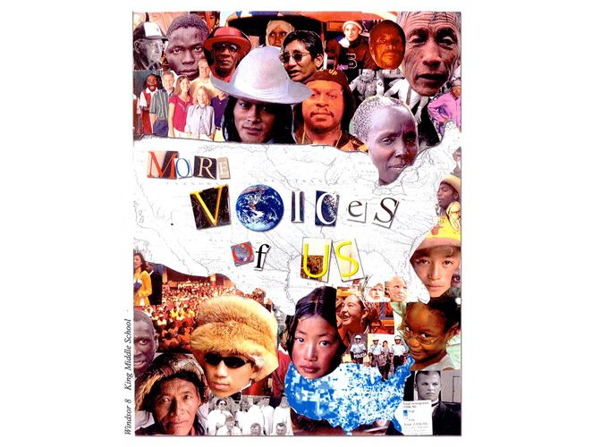 """8th graders at the King Middle School in Portland, Maine created this book as a means for exploring the question, """"Why do people move?"""" The book is comprised of interviews and student-written stories about immigration. As a center for Catholic Charities Refugee placement, the city and the school have a large percentage of recent refugees, particularly from East Africa. The school had students with thirty-one native languages."""