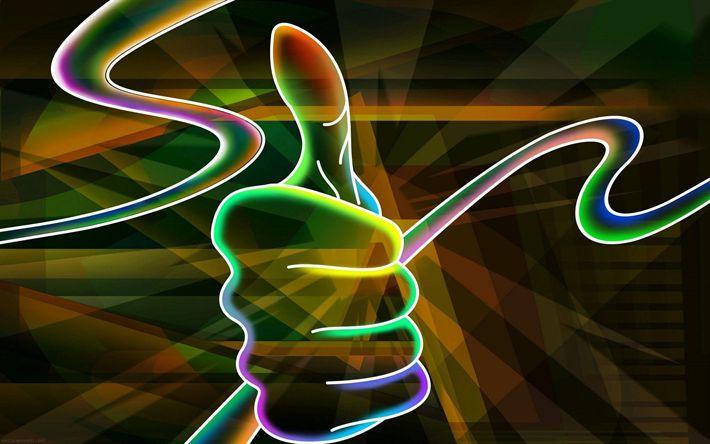 Descargar fondos de pantalla pulgar hacia arriba, la mano, el arte, las luces de neón