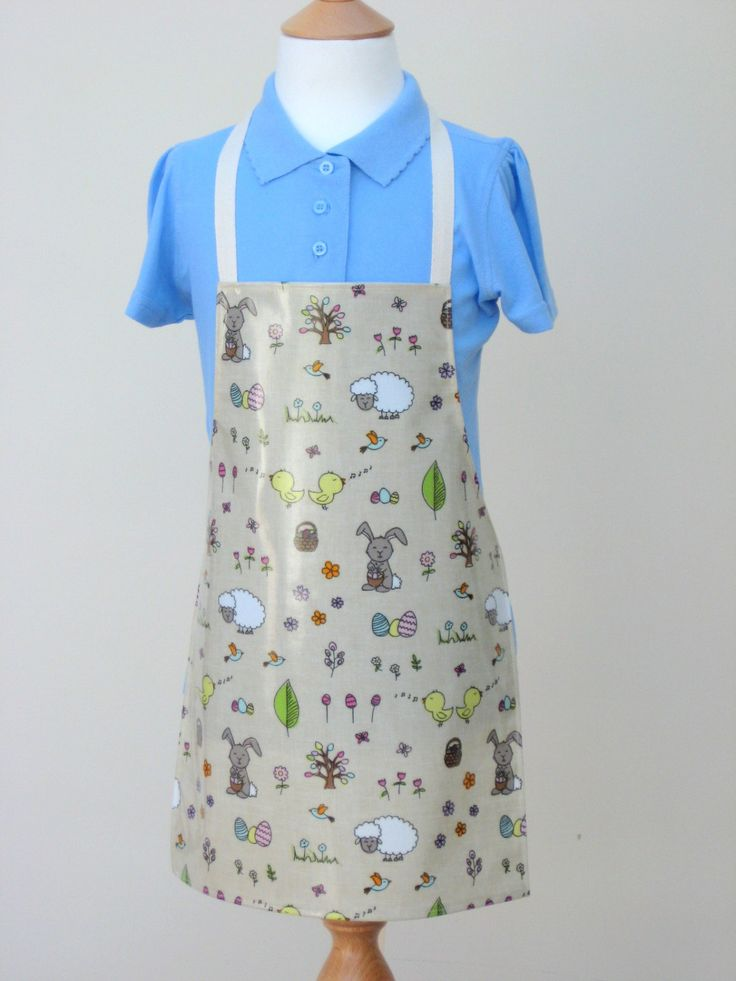 Child Oilcloth Apron - Easter Bunnies and Eggs, Toddler Apron, PVC Apron, Waterproof Apron by OneLeggedGoose on Etsy