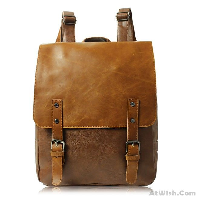 Wow~ Awesome Casual Leaves Leather College Rucksack British Style Schoolbag…