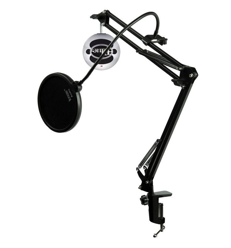 Blue Microphones SNOWBALL-BA Mic w/ Knox Mic Desktop Boom Arm & Pop Filter