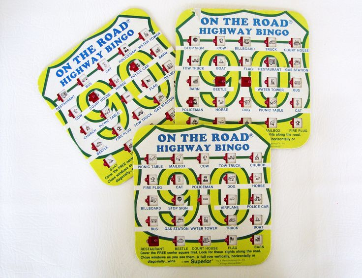 Vintage 80s Highway Bingo Auto Travel Game 3 Cards On The Road Kids Toy Ephemera Scrapbooking Cards by MODernThrowback on Etsy
