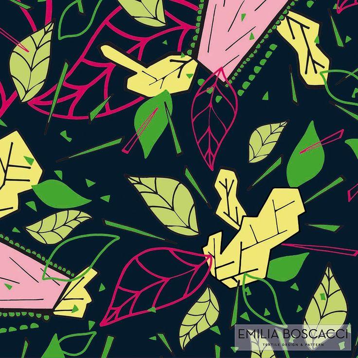 textile design, print, printdesign, naturaleza abstracta, hojas y rayos, movimiento, action