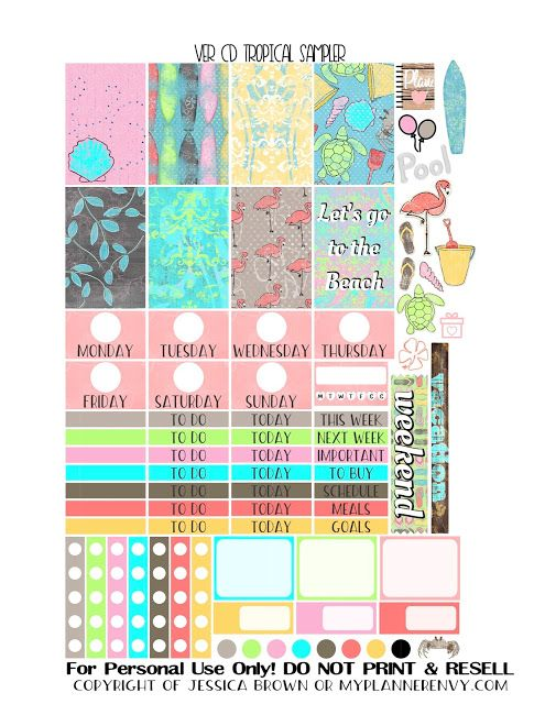 Free Printable Tropical Sampler for the Vertical Carpe Diem Inserts from myplannerenvy.com