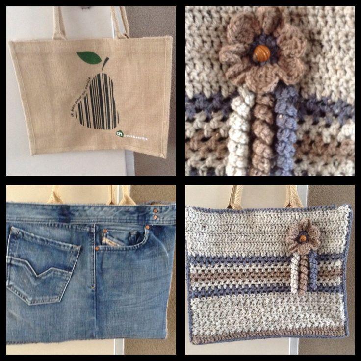 Ah tas gekombineerd met spijkerstof