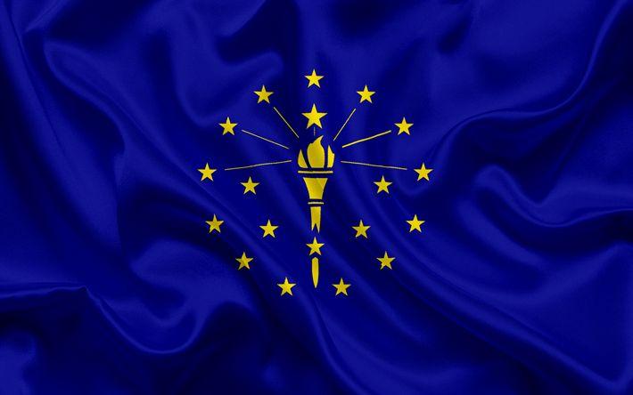 Download imagens Indiana Bandeira, bandeiras dos Estados, bandeira do Estado de Indiana, EUA, estado de Indiana, de seda azul da bandeira, Indiana brasão de armas