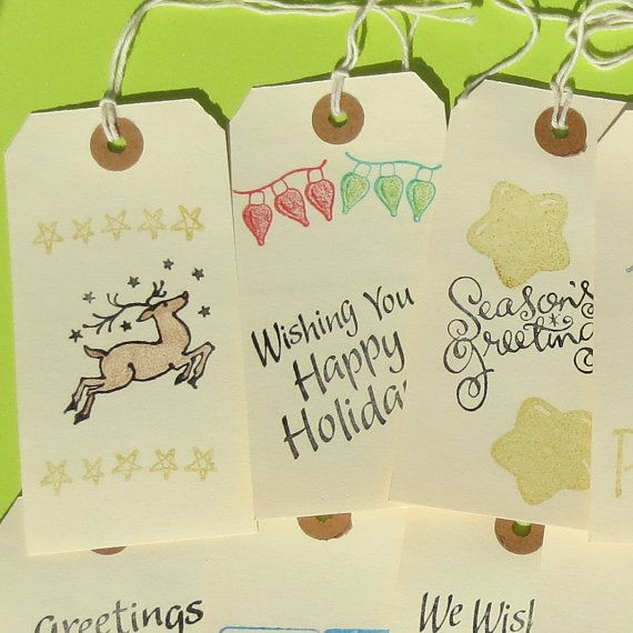 Christmas Gift Tags Set of 10 Stamped Holiday Greetings Manilla XL Present To From Seasons Greetings Happy Holidays Reindeer by CuttingItUp, $5.00