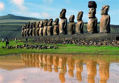 "The large stone statues, or moai, for which Easter Island is world-famous, were carved from 1100–1680 CE (rectified radio-carbon dates). A total of 887 monolithic stone statues have been inventoried on the island and in museum collections so far. Often identified as ""Easter Island heads"", the statues are actually torsos, with most of them ending at the top of the thighs, although a small number of them are complete, with the figures kneeling on bent knees with their hands over their…"