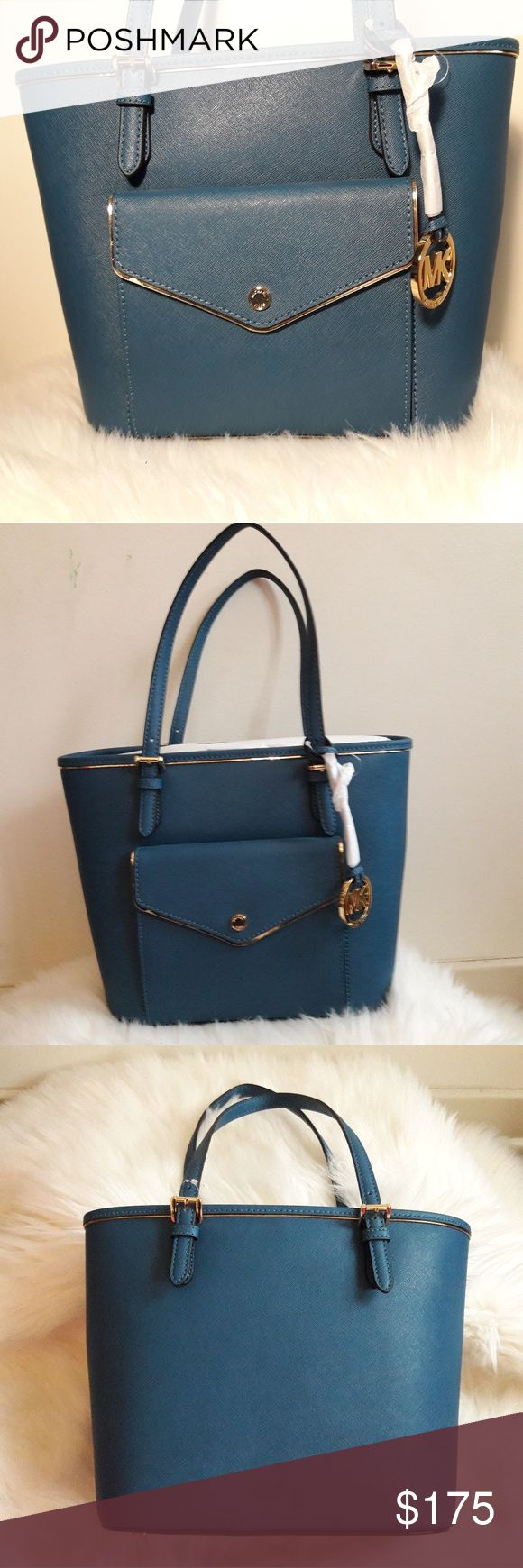 Authentic Michael Kors Leather Tote Handbag Purse Brand New Authentic Michael Kors Saffiano Frame Steel Blue Leather Tote Bag Purse.  Please be sure to view all images before purchasing.   Thank you for Looking & Sharing Happy Poshing😄💗 MICHAEL Michael Kors Bags Totes