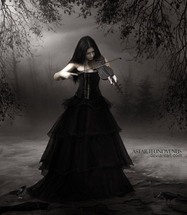 Gothic Violin by =Denys-Roque on deviantART / OK, that's a PARTICULARLY bad holding the neck pose.