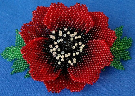 beaded hair barrette with poppy flower custom by Gemsplusleather