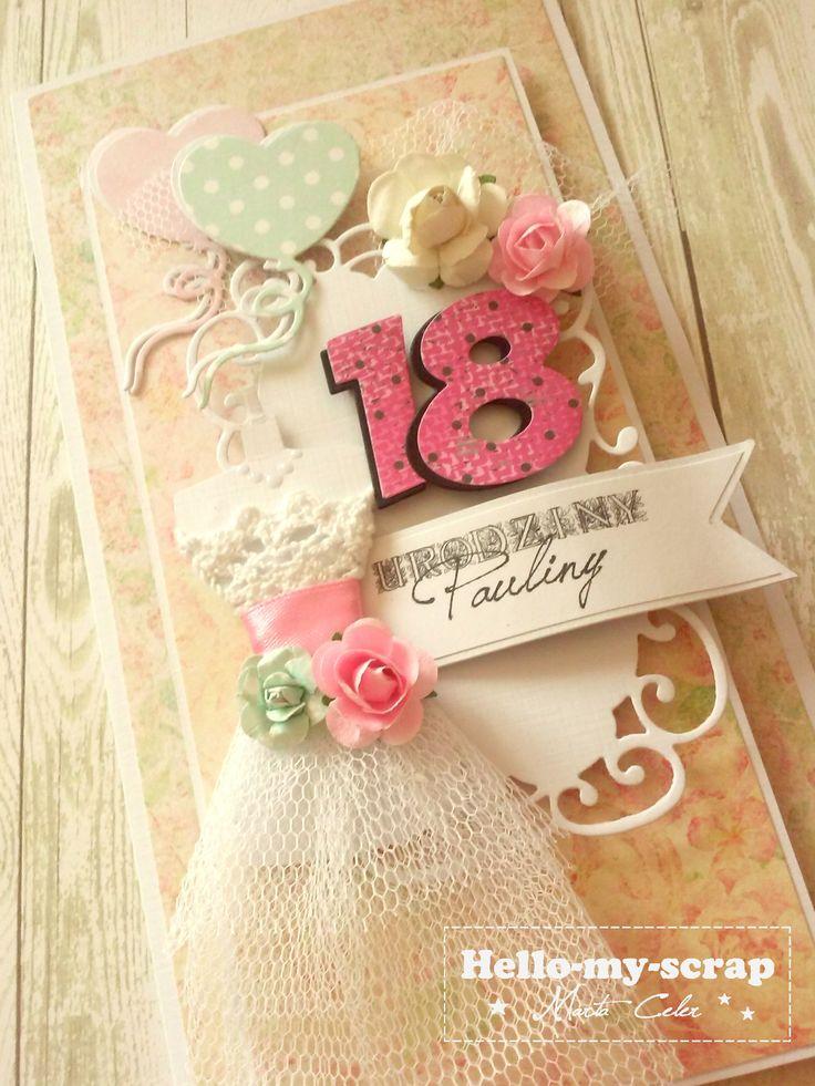 Kartka na 18 sukienka, baloniki