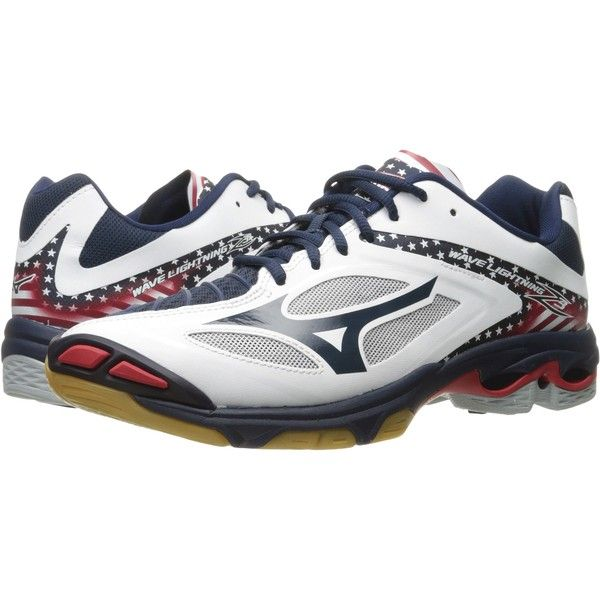 Mizuno Wave Lightning Z3 (Stars & Stripes) Men's Volleyball Shoes ($96) ❤ liked on Polyvore featuring men's fashion, men's shoes, men's sneakers, multi, mens rubber shoes, mens sneakers, mens breathable shoes, mens spiked sneakers and mens shoes