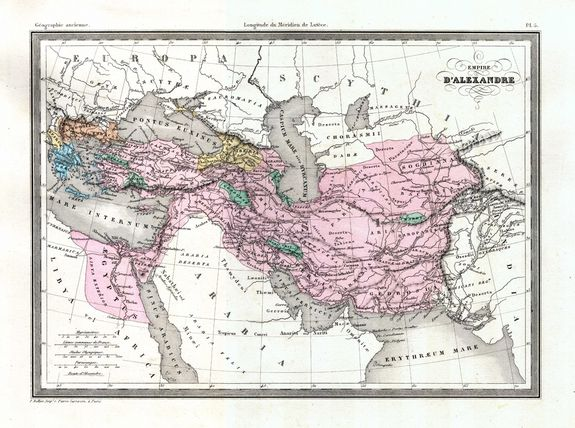 An 1875 map shows Alexander the Great's empire.
