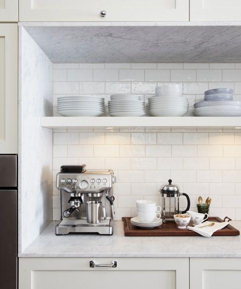 pin by kim winkelman on k i t c h e n pinterest open shelving nooks and coffee station kitchen. Black Bedroom Furniture Sets. Home Design Ideas