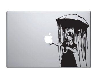 "Banksy Vinyl Decal / Sticker to fit Macbook Pro 13"" 15"" 17"" -- Custom sizes available - umbrella girl - precision cut"