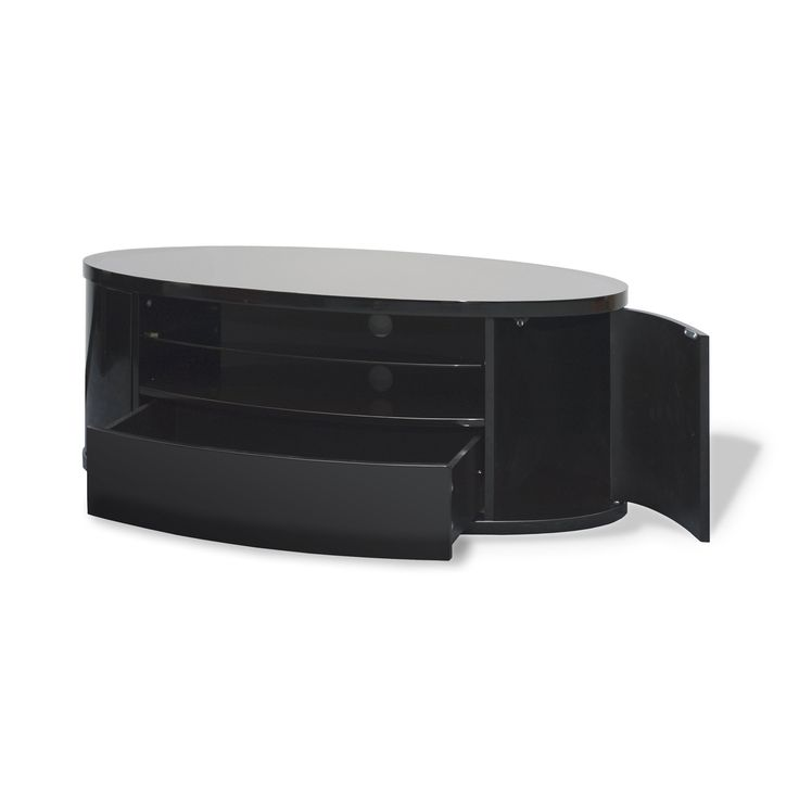 Techlink Bench Corner Piano Black Tv Stand With Glass Doors