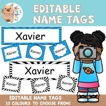 These editable name tags are designed to brighten up your classroom. The pack is perfect for back to school classroom organisation - use them for labeling bag hooks, name tags, tubs, etc. The pack includes: • 50 x large blank tags in 10 colors (5 tags per