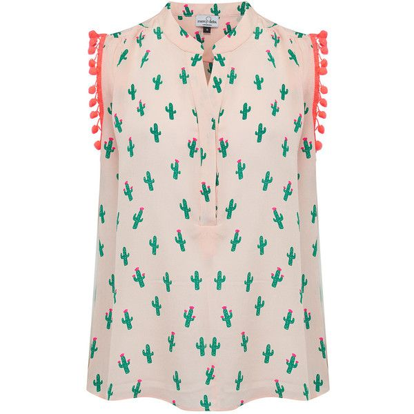 Mercy Delta Hampton Sleeveless Pom Pom Top - Cactus & Beach Babe ($245) ❤ liked on Polyvore featuring tops, sleeveless tops, low v neck tops, pink top, beach tops and neon pink top