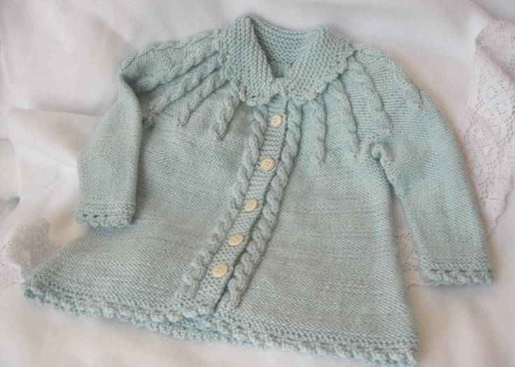 Classic baby girl cabled sweater with collar. $75.00, via Etsy.