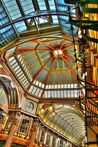 Leadenhall Market, England. It was used to represent the area of London near 'The Leaky Cauldron' and 'Diagon Alley' in the film 'Harry Potter & the Philosopher's Stone', and is featured in the film 'The Imaginarium of Doctor Parnassus'.