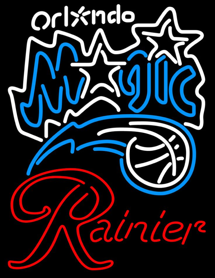 Rainier Orlando Magic NBA Neon Beer Sign, Rainier with NBA | Beer with Sports Signs. Makes a great gift. High impact, eye catching, real glass tube neon sign. In stock. Ships in 5 days or less. Brand New Indoor Neon Sign. Neon Tube thickness is 9MM. All Neon Signs have 1 year warranty and 0% breakage guarantee.