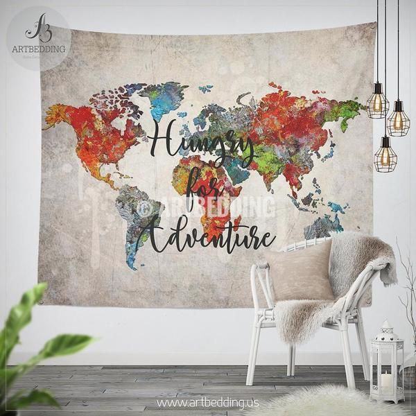 48 best watercolor art world map wall tapestry designs images on oil painting world map wall tapestry abstract adventure world map wall hanging bohemian travel gumiabroncs Gallery