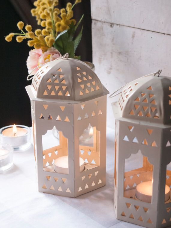 Cream Lanterns Small Set of 2 Wedding by WeddingBoxWhatNots