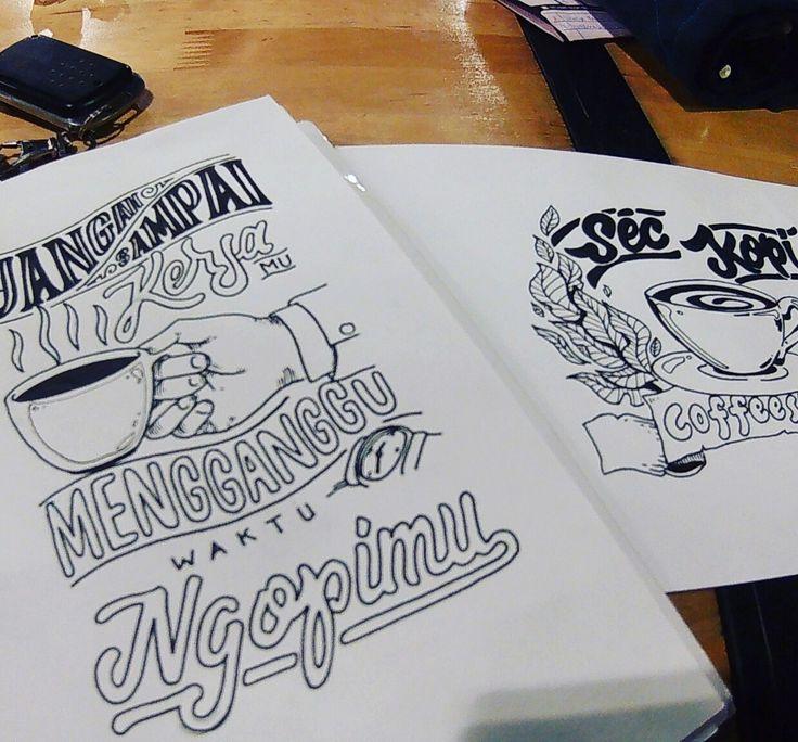 Kopi Ngopi ngerumpi #coffee #cafe #lettering #sketch #handlettering