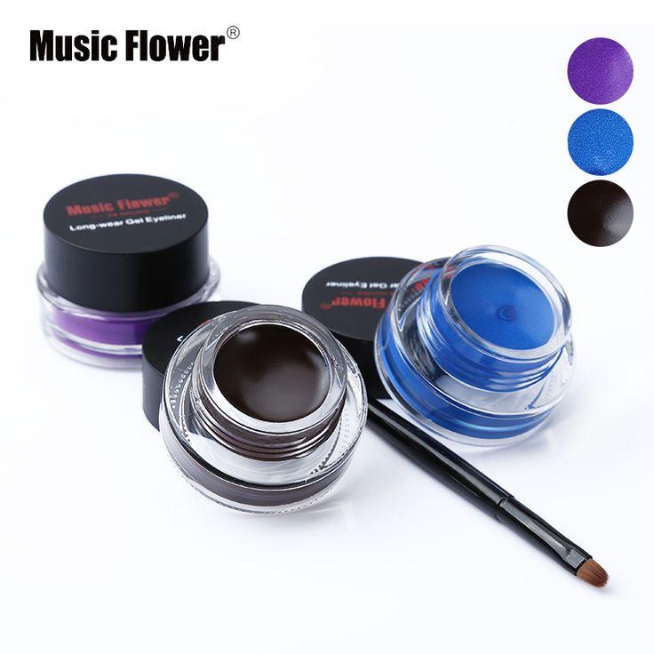 Music Flower Brand Black Waterproof Eyeliner Gel Makeup Cosmetic Gel Eye Liner With Brush 24 Hours Long-lasting For Women