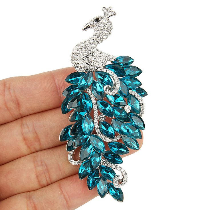 "Luxury New 3.3"" Peacock Peafowl Brooch Pin Austrian Crystal Blue Clear Animal"