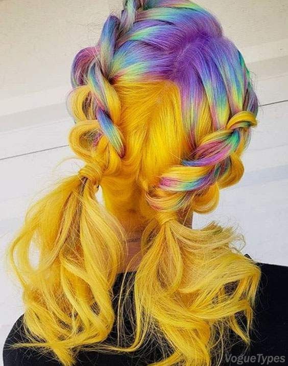 Double Braids Ponytail Hairstyle Looks With Colorful Highlights