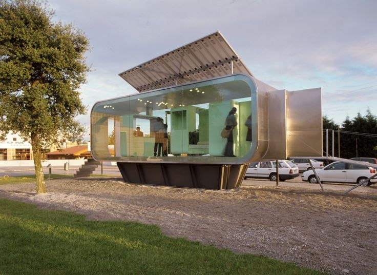 Unique Fabulous Prefabs that Will Move You: Incredible Building Design Of Cannata House With Shiny Silver Wall And Transparent Windows Made From Green Colored Glass Panels ~ HKSTANDARD Architecture Inspiration