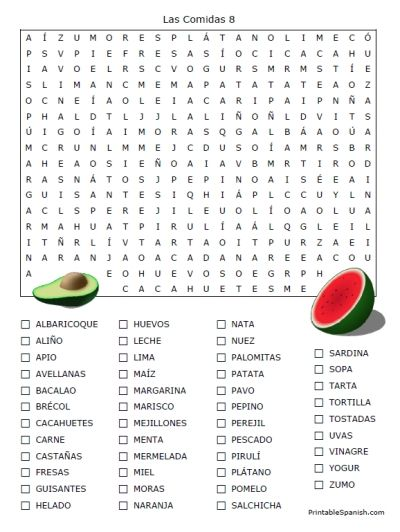 Spanish Worksheets Printables | spanish worksheets vocabulary food words fun search puzzle