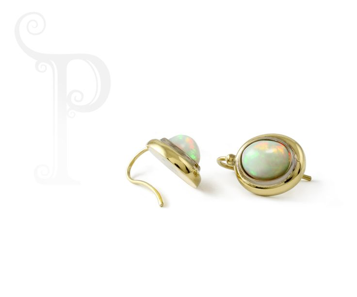 Handmade 18ct Yellow & White Gold Double Bezel Drop Earrings, Set With Opals