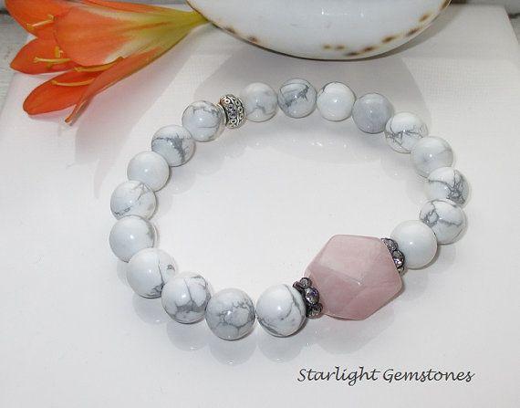 Inner Calm - Rose Quartz Nugget Stone & White Howlite Chunky Gemstone Bracelet