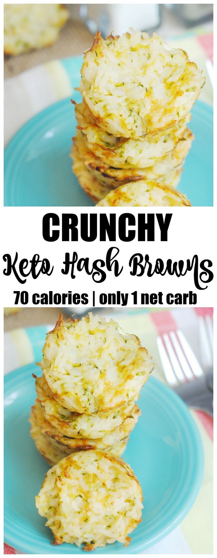 Keto hash browns are a yummy addition to any breakfast or even as a snack. They are crunchy, low carb and made with a popular potato alternative.  breakfast, low carb, family friendly, back to school, eggs, make ahead, freezer meal.
