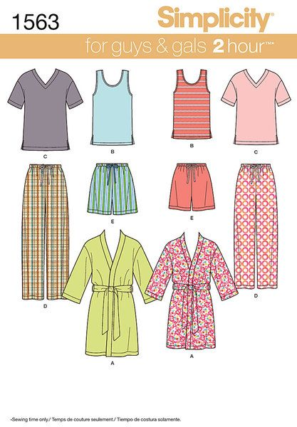 Description: Misses' Men's and Teens' Sleepwear  Misses', men's and teens' knit tops in short sleeve v-neck tee or pull on scoop neck tank top. Also includes pull on shorts and pants with elastic waist and bathrobe. Fabrics: A, D, E in Flannel, Laundered Cottons, Gingham, Chambray, Lightweight Poplin,   Seersucker, Pique, Laundered Silks/Rayons, Challis, Batiks, Cotton Interlock, Jerseys, Stretch   Velvet, Lightweight Velour. A also in Terry Cloth. B, C sized for stretch knits only: Cotton…