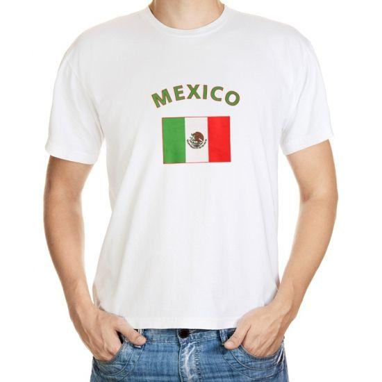 Mexico t-shirt met vlag. Wit unisex t-shirt met daarop de vlag van Mexico. Het shirt is 100% katoen, 150 grams kwaliteit. Het Mexico t-shirt mag maximaal op 40 graden gewassen worden en mag niet worden gestreken in verband met de opdruk. Kijk ook in deze webshop voor meer accessoires in de Mexicaanse kleuren.