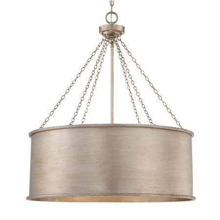 "Luxe Patina Drum Shade - Large; 25""Dia. x 29""H + chain; silver patina; $498 list / $398 net"