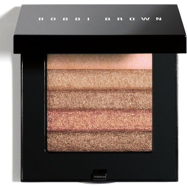 Bobbi Brown  Bronze Shimmer Brick Compact ($48) ❤ liked on Polyvore featuring beauty products, makeup, cheek makeup, blush, blending brush, bobbi brown cosmetics and blender brush