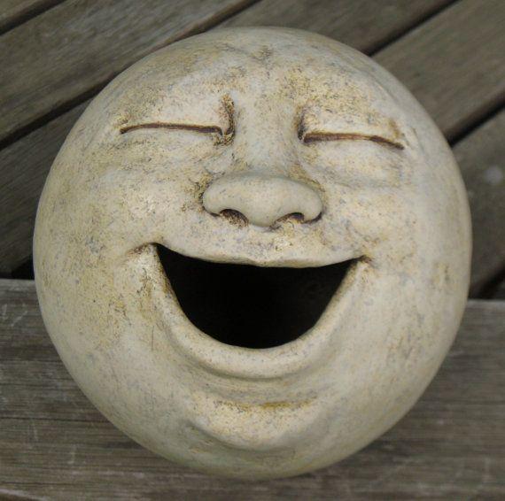 Moon Gardens:  Laughing #Moon #Garden sculpture, clay.
