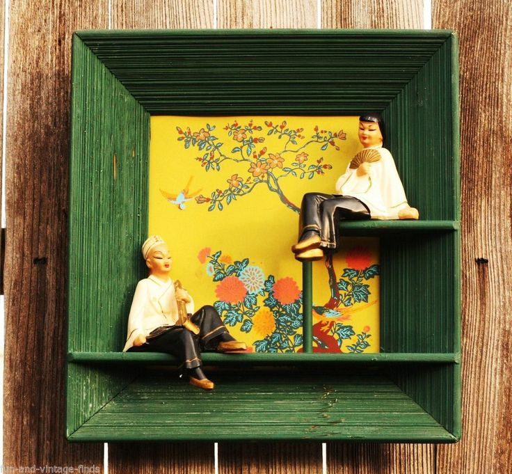 Beautiful ASIAN Frame Cute Male Female Chalkware FIGURINES Lovely Wall Decor fnv $75
