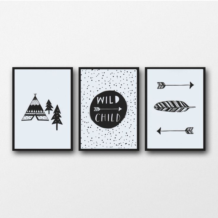 Monochrome print set of 3 prints monochrome nursery black and white print wild child nursery wall