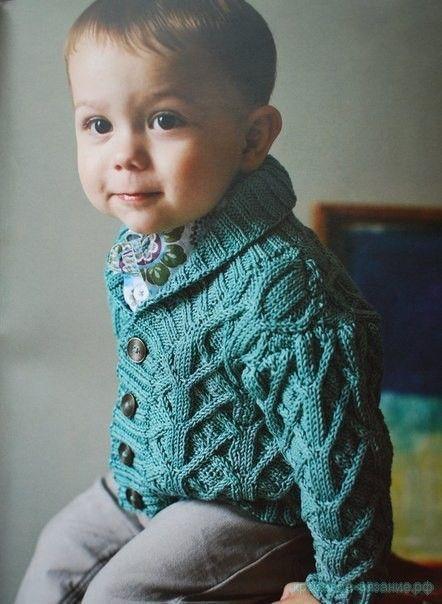 Вязание спицами для детей Вяжем для мальчиков Описание вязания жакета для мальчика Картинки увеличиваются при нажатии…