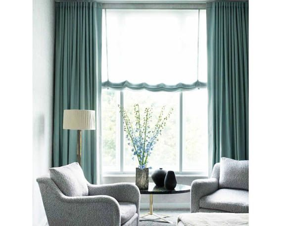 Teal blue linen blend curtains. Heavy Weight, 370GSM or 11 oz/sq yard  FABRIC: Linen Blend fabric. The fabric has been treated to prevent shrinkage. Add blackout lining here: https://www.etsy.com/listing/232965776/blackout-curtain-lining?ref=listings_manager_grid  Add white