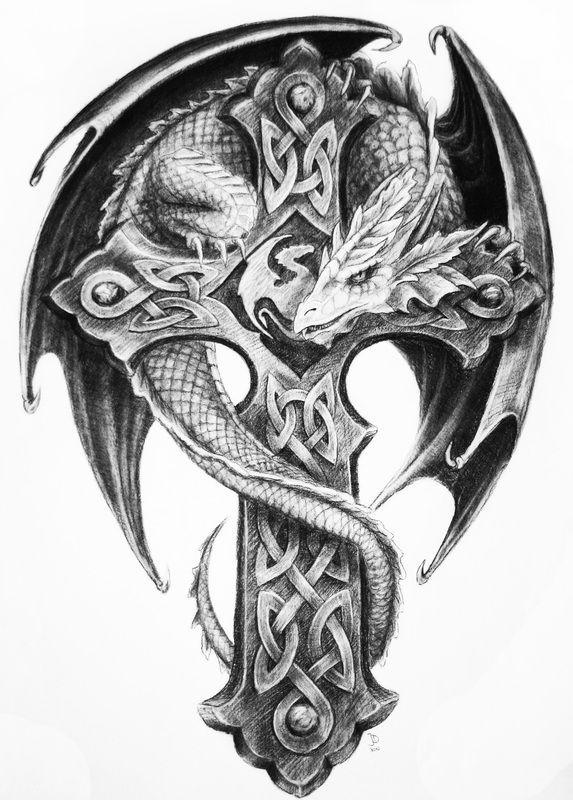 Dragon around Celtic cross