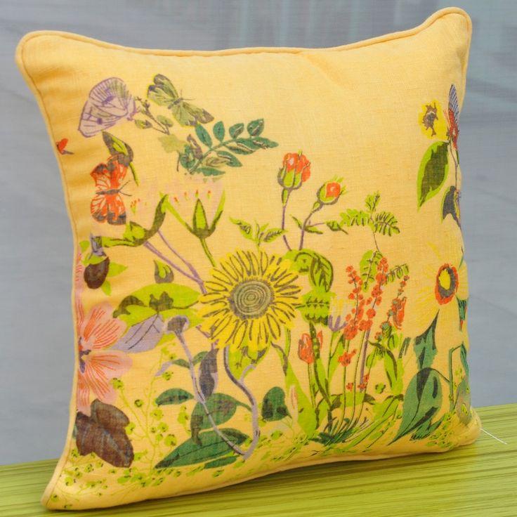 Majestic Yellow Flowery Cushion - Printed Cushions - New
